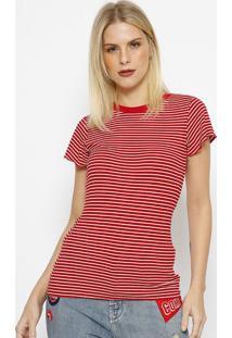 Camiseta Canelada Listrada - Vermelha & Branca - Tritriton