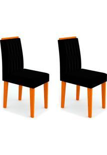 Conjunto Com 2 Cadeiras Ana Ii Ipê E Preto