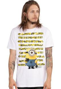 Camiseta Bandup! Minions Listras De Bananas - Masculino-Branco