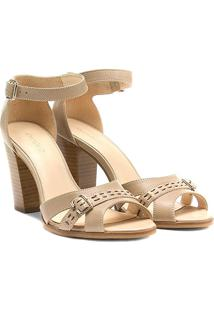 Sandália Couro Shoestock Salto Grosso Fachetado Feminina - Feminino-Bege