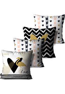 Kit Com 4 Capas Para Almofadas Pump Up Decorativas Branco Love Flamingos 45X45Cm