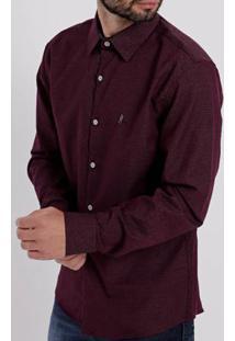 Camisa Slim Manga Longa Masculina Vinho