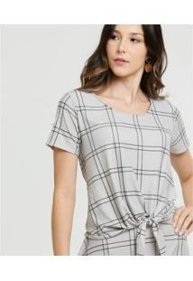Blusa Marisa Quadriculada Amarração Feminina - Feminino
