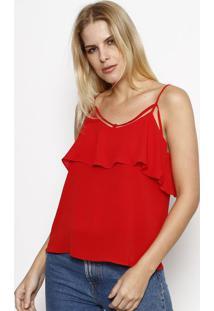 Blusa Com Tiras & Recorte Sobreposto - Vermelhamoiselle