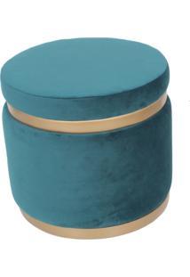 Puff Banqueta Decorativo Round Gold Veludo Azul