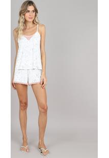Short Doll Feminino Estampado Guaxinim Com Renda Alça Fina Off White