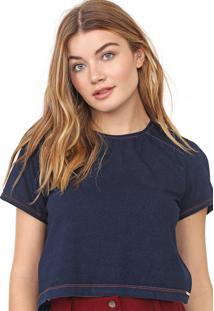 Camiseta Cropped Dimy Pespontos Azul-Marinho - Kanui