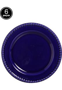 Conjunto 6 Pratos Rasos Bolinha Azul Scalla