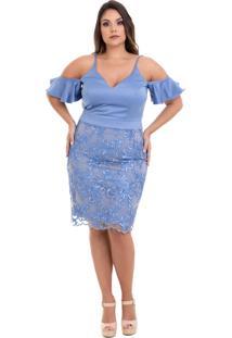 Vestido Kalandra Curto Com Saia Em Tule Rendado Azul Claro