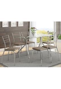 Mesa 387 Vidro Incolor Cromada Com 6 Cadeiras 1700 Camurça Conhaque Carraro