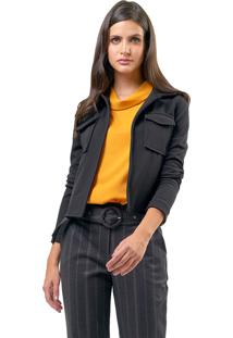 Casaqueto Mx Fashion Com Bolsos Carolyn Preto - Tricae