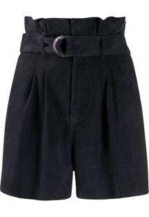 P.A.R.O.S.H. Short Masuede Com Cintura Paperbag - Azul
