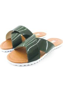 Rasteira Quality Shoes Feminina 008 Verniz Verde Musgo 35