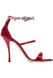 Dolce & Gabbana Sandália De Cetim Com Aplicação De Cristais - Vermelho