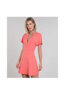 Vestido Feminino Curto Canelado Transpassado Manga Curta Coral