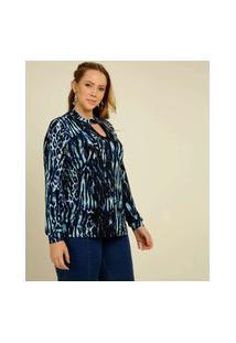 Blusa Plus Size Feminina Choker Animal Print