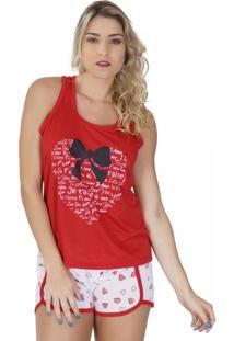 Baby Doll Click Chique Nadador Com Elástico Embutido Vermelho