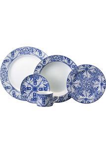 Aparelho De Jantar Azulejo 30 Peças - Schmidt - Branco / Azul