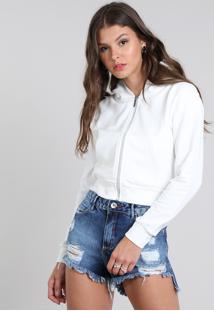 Blusão Feminino Básico Em Moletom Com Capuz Off White