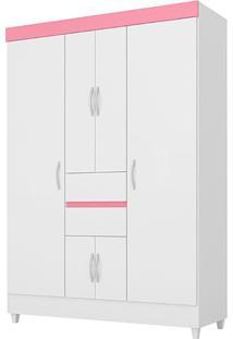 Guarda Roupa Demóbile Ecom Ii 6 Portas Branco/Rosa/Branco Flex