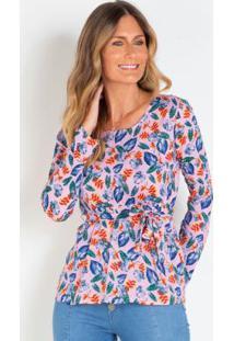 Blusa Com Amarração Floral Lilás