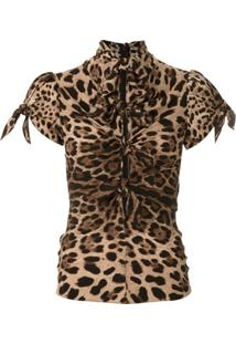 Dolce & Gabbana Blusa De Seda Animal Print - Neutro