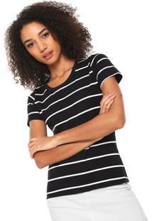 Camiseta Hering Reta Listrada Preta/Branca