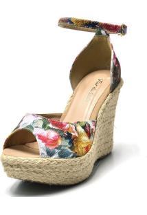 Sandália Anabela Salto Alto Confort Tecido Floral Rosa - Tricae