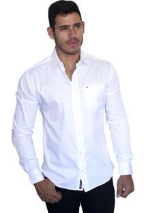 Camisa Social Sport Victor Deniro Branco Acetinado