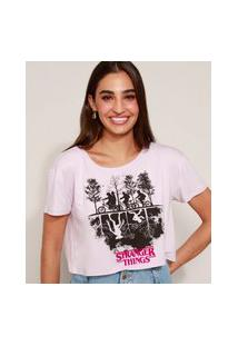 Camiseta Feminina Cropped Stranger Things Manga Curta Lilás
