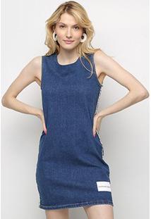 Vestido Jeans Calvin Klein Regata Curto - Feminino-Azul Claro