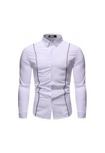 Camisa Masculina Com Listra - Branca