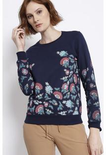 Blusão Em Moletinho Floral - Azul Marinho & Verde - Malwee