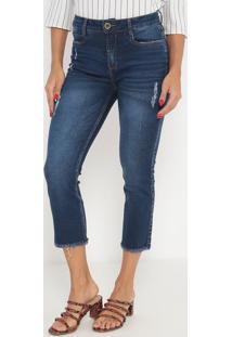 Jeans Cropped Com Zíper- Azul Escuro- Ennaenna
