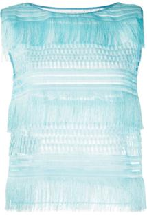 Alberta Ferretti Blusa Sem Mangas Com Franjas - Azul