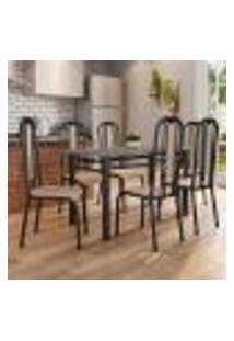 Conjunto De Mesa Com 6 Cadeiras Granada Preto E Natural Bege Gr