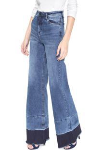 Calça Jeans Calvin Klein Jeans Pantalona Estonada Azul