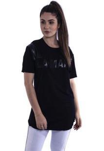 Camiseta Feminina Alongada Labellamfia - Feminino-Preto