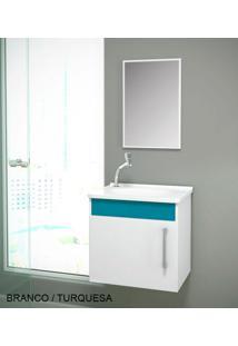 Gabinete Para Benheiro Kit Soft Susp. - Balcão + Espelheira + Marmorite - Branco Turquesa