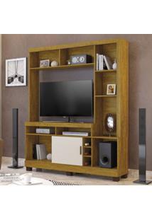 Estante Home Para Tv Até 60 Polegadas Adega 1 Porta Montana Mavaular Mel/Off White