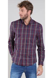 Camisa Masculina Comfort Estampada Xadrez Manga Longa Vinho