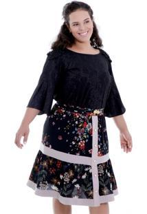 Blusa Vickttoria Vick Giulia Ombreira Pérola Plus Size