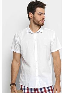 Camisa Colcci Slim Manga Curta Masculina - Masculino-Branco