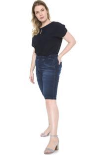 Bermuda Jeans Plus Size Da Cambos Azul