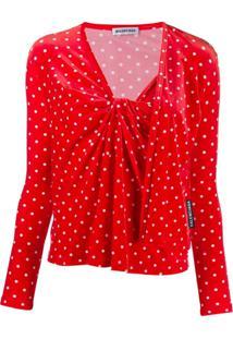 Balenciaga Blusa De Veludo Com Poá 'Twinset' - Vermelho