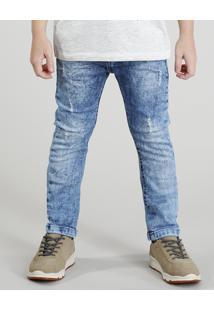 Calça Jeans Infantil Slim Marmorizada Azul Claro