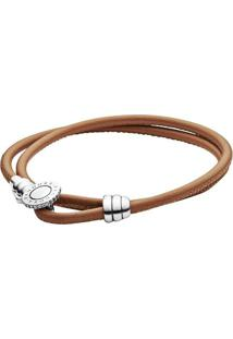 Bracelete Em Couro Duas Voltas- Prata & Marrom- Pandpandora