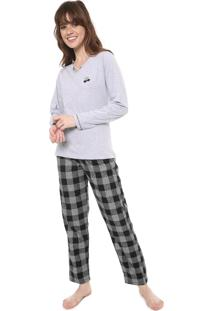Pijama Pzama Xadrez Cinza/Preto