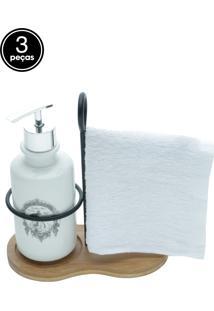 Kit 3Pçs Porta-Sabonete Liquido Com Toalha E Suporte Cerâmica/Algodão/Madeira Paris Branco