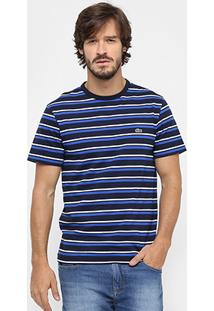Camiseta Lacoste Gola Careca Listras Regular Fit - Masculino
